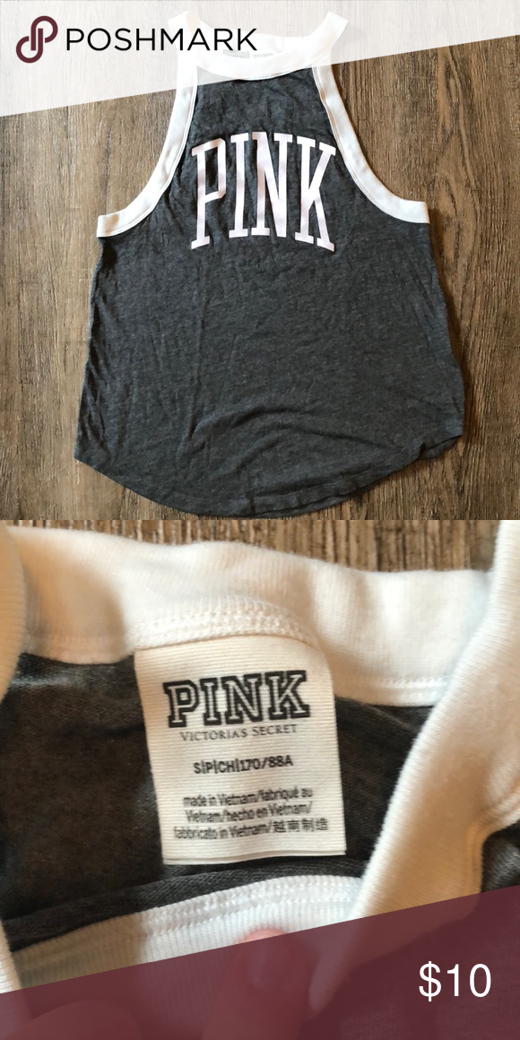 a2c7072af3 Victoria s Secret pink tank top This is a size small Victoria s Secret pink  tank top. It s a prefect tank top to transition to fall because the white  ...