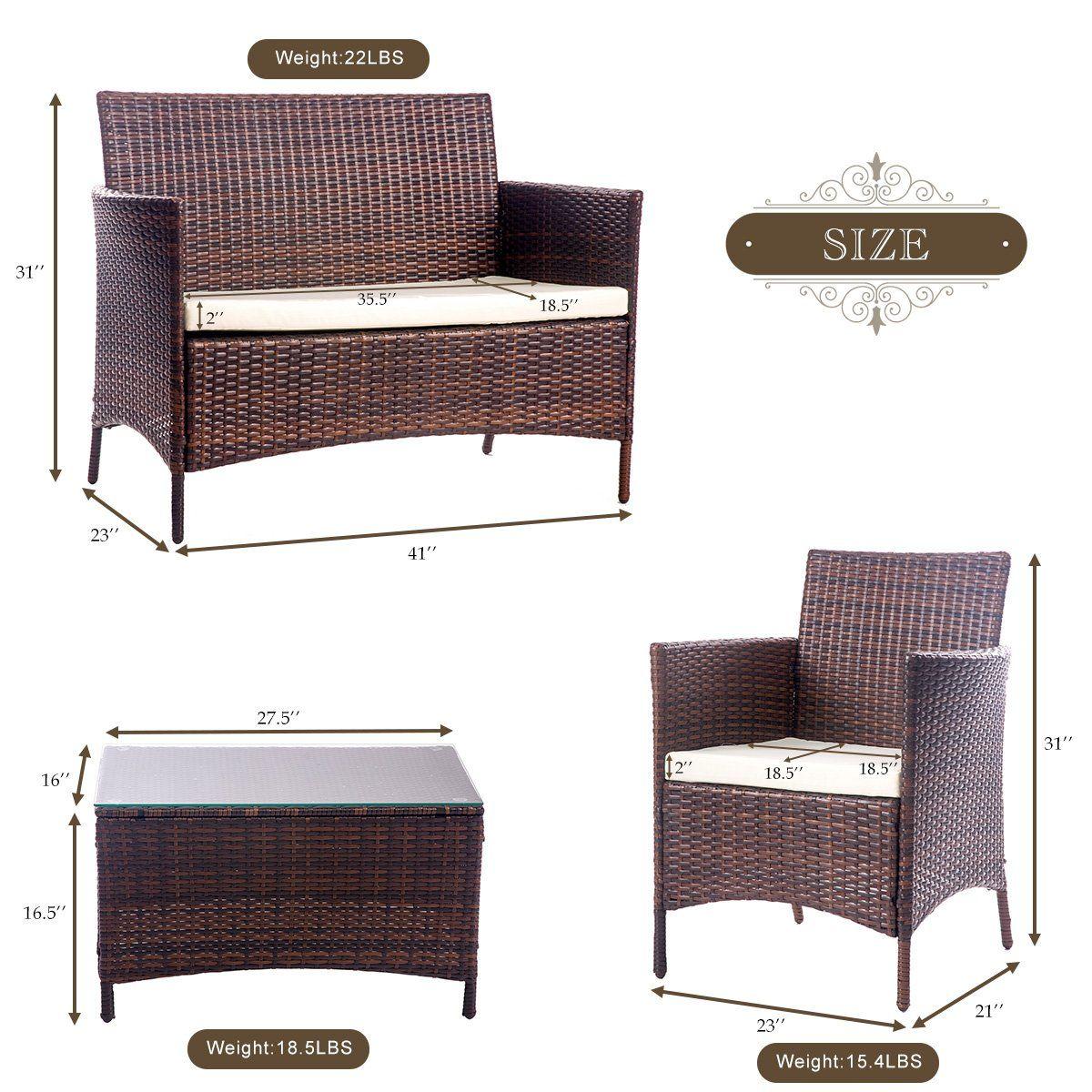 Merax 4 PCS Patio Rattan Furniture Set Cushioned Outdoor ...