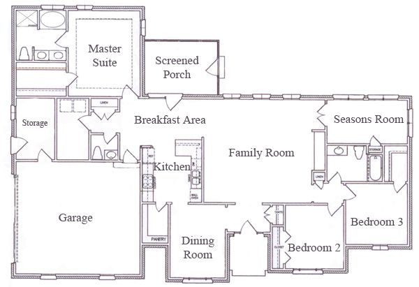 Single Story Ranch House Floor Plans L Af5f5c0db97cc4d4 Jpg 600 411 Ranch House Floor Plans House Floor Plans Ranch Style Floor Plans