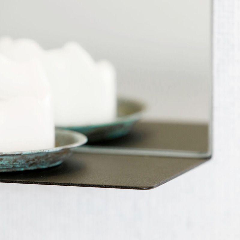Miroir avec cadre métal et tablette noir, Room #miroir #salledebain ...