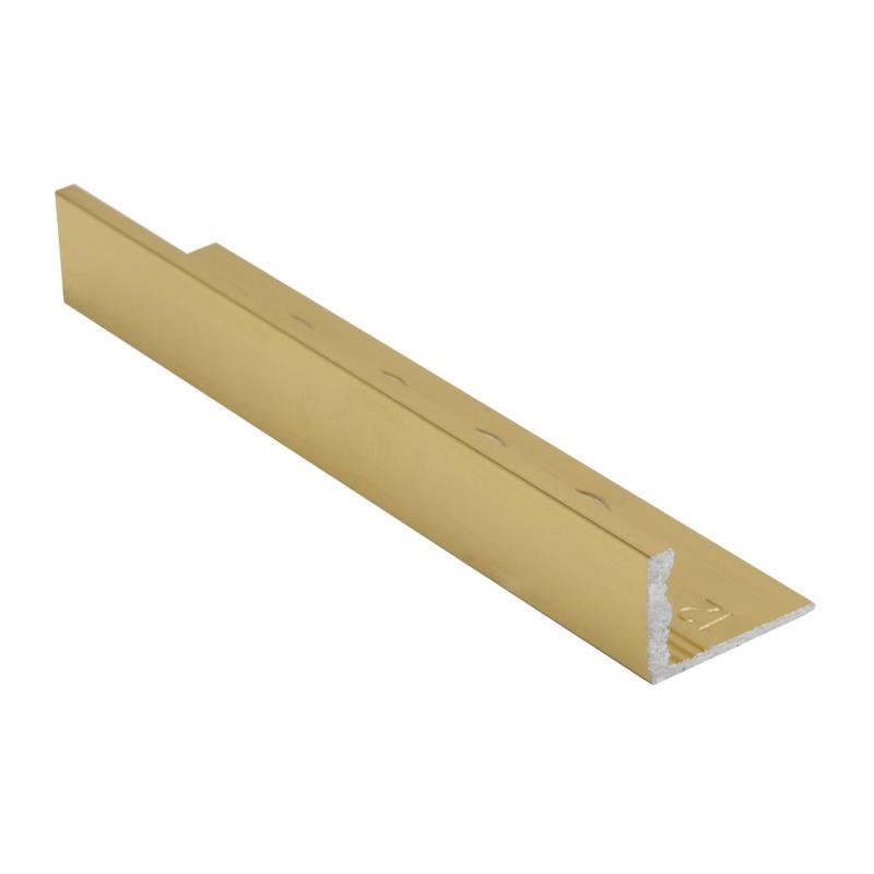 Straight Edge Polished Brass Tile Trim Esa By Genesis Buy Metal Tile Trim Online Premium Tile Trim In 2020 Tile Trim Gold Tile Polished Brass