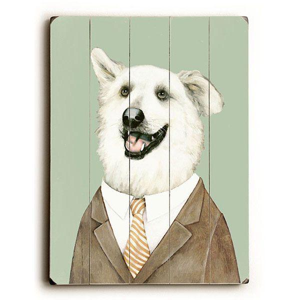 Fashionable Dog by Artist Tim McConnachie Wood Sign