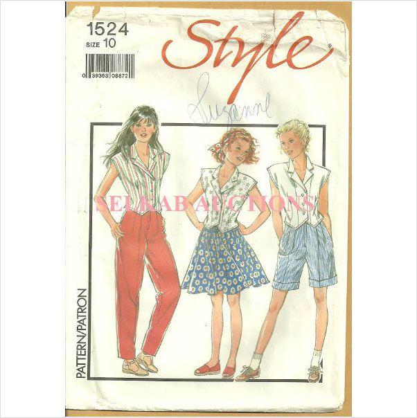 Style 1524 Sewing Pattern Girls' Separates Blouse Skirt Pants Size 10 Uncut on eBid Canada