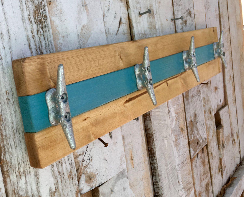 Boat Cleat Coat Rack Nautical Towel Rack Hat Rack Book Bag Rack Key Rack Teal And Natural Pine Boat Cleats Bag Rack Hat Rack