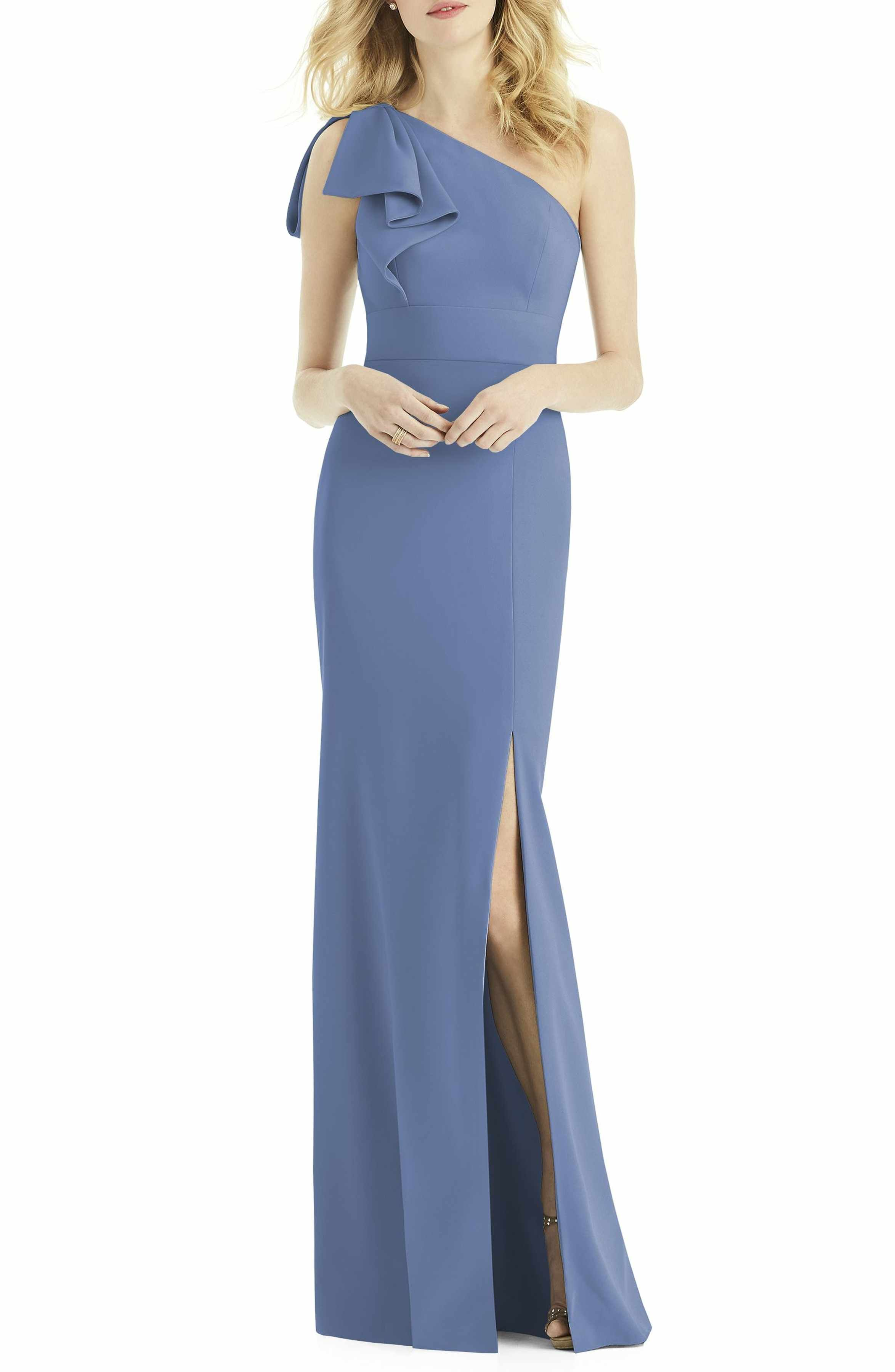 97c4fa9250be After Six Bow One-Shoulder Gown in Larkspur | Bridesmaid Ideas | One ...