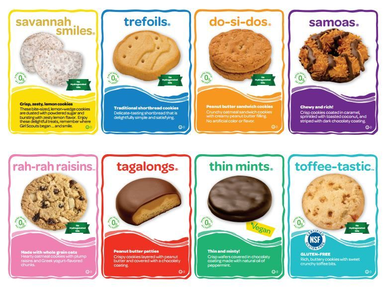 Cookie Cards with information about each cookie variety available this  year- great reference sheet to · Daisy ScoutsGirl ...
