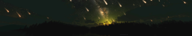 Meteors Triple Screen Sky Space Multiple Display Shooting Stars Stars 5k Wallpape Panoramic Photography Star Destroyer Wallpaper Triple Monitor Wallpaper