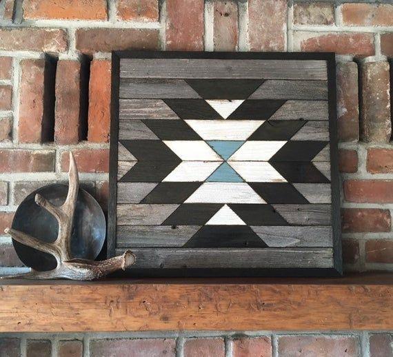 Arte de pared de madera recuperada - Arte de pared de madera del suroeste - Navajo inspirado - Flor de calabaza #reclaimedwoodwallart