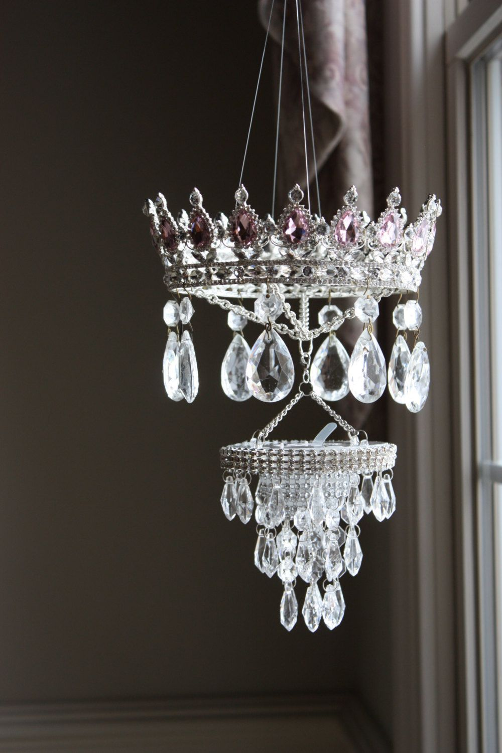 Versailles 6 Light White Chandelier with Crystals, Pink Shade and Pink Crystal Stars