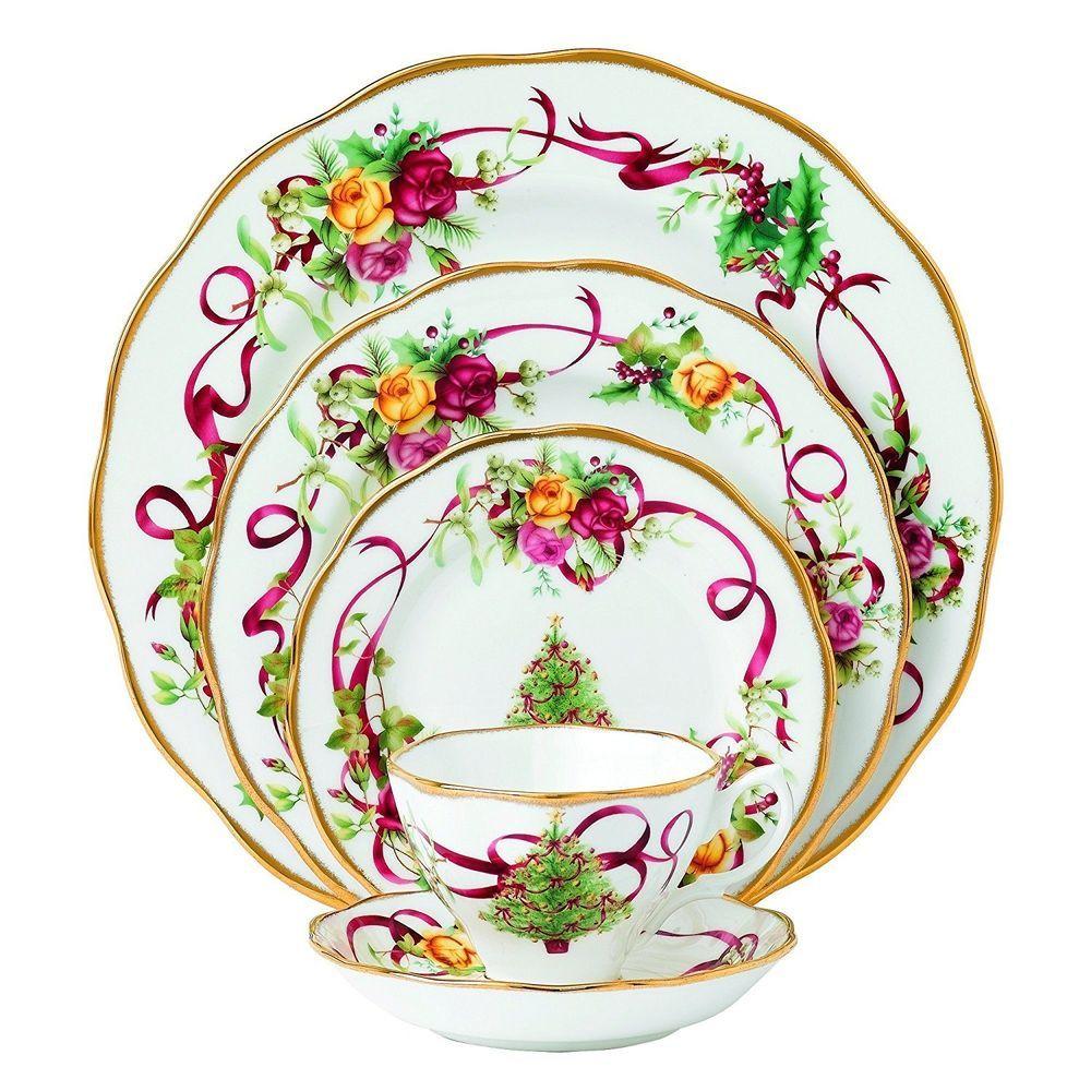 5-Piece Dinnerware Sets Old Country Roses Christmas Tree Place Seasonal Holiday #RoyalDoulton  sc 1 st  Pinterest & 5-Piece Dinnerware Sets Old Country Roses Christmas Tree Place ...
