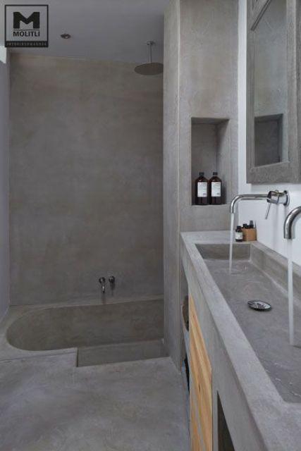 32 Trendy And Chic Industrial Bathroom Vanity Ideas Baño - paredes de cemento