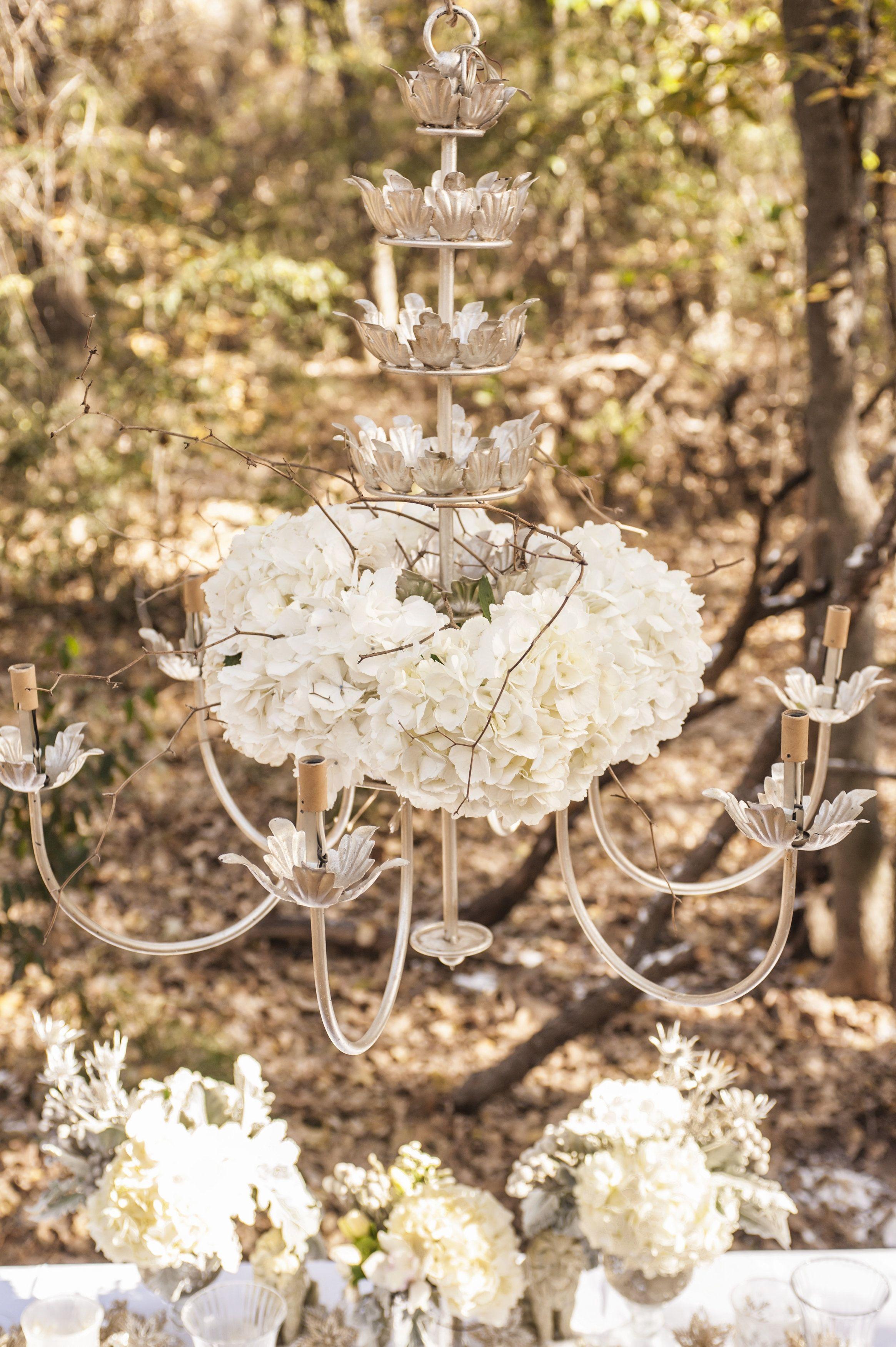 Hydrangea chandelier place card holders hydrangea flowers