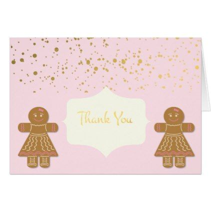 Gingerbread Cookie Girls Christmas Thank You Card  Xmascards