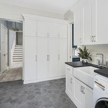 dark gray hexagon laundry room floor tiles   laundry room