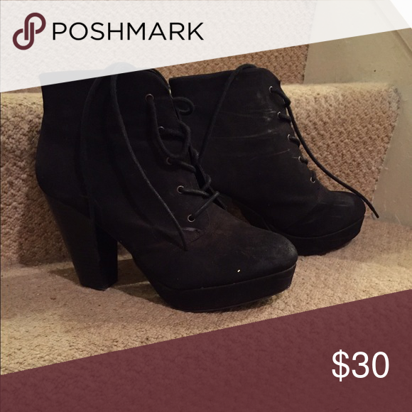 Lace-Up Heels Suede lace-up pumps. Great Condition! Mossimo Supply Co Shoes Heels