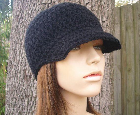 Crochet Hat Womens Hat Black Newsboy Hat - Skater Boy Cap in Black ...