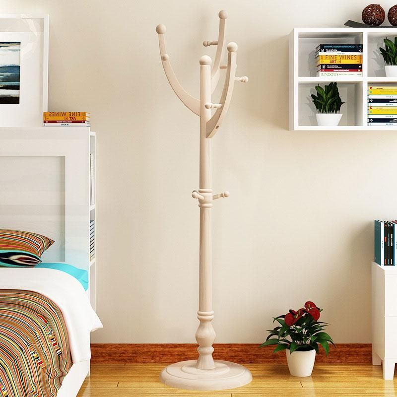 Wooden Coat Rack Stand Entryway Hall Tree Coat Tree - Champagne