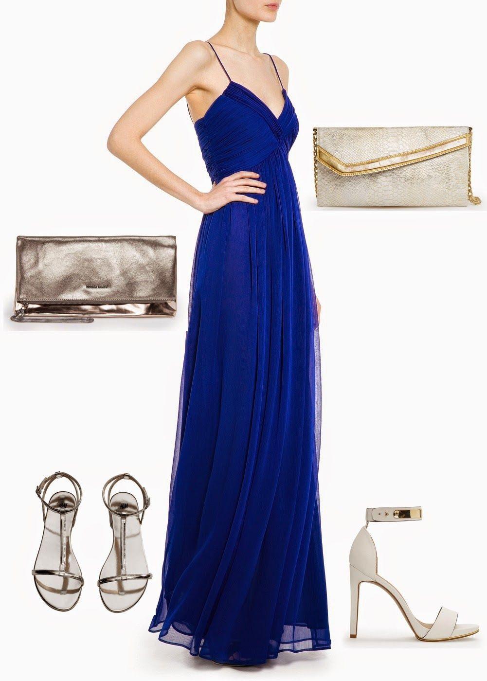 Vestido de fiesta azul con plateado