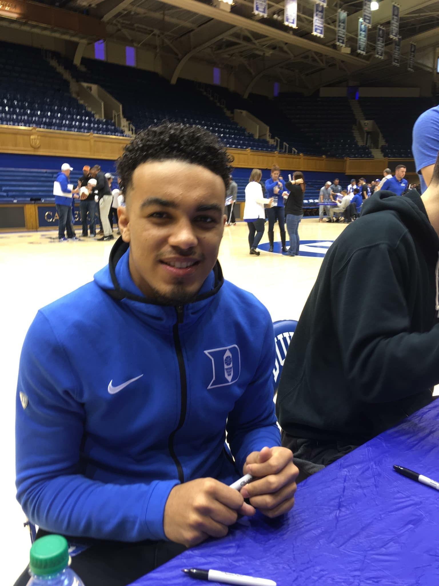 Tre Jones autograft day 2018 Duke basketball, Duke blue