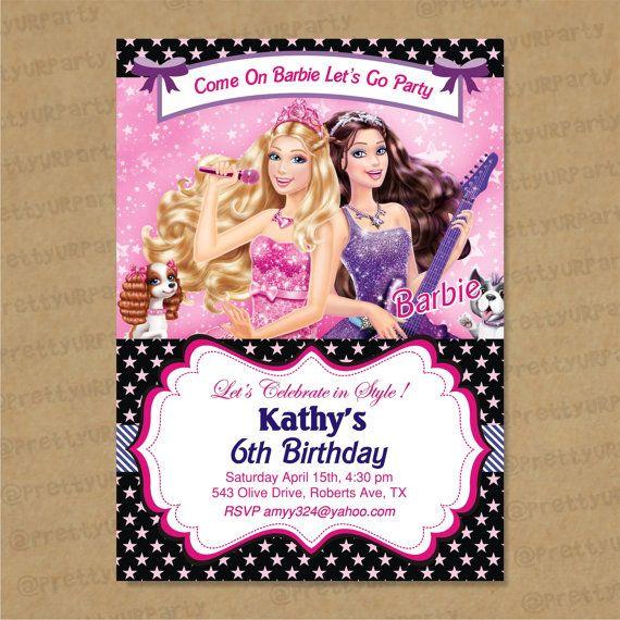 Duel Birthday Decor Zebra Barbie And Princess Themes: Barbie Themed Zebra Invites 007 Custom Printable By