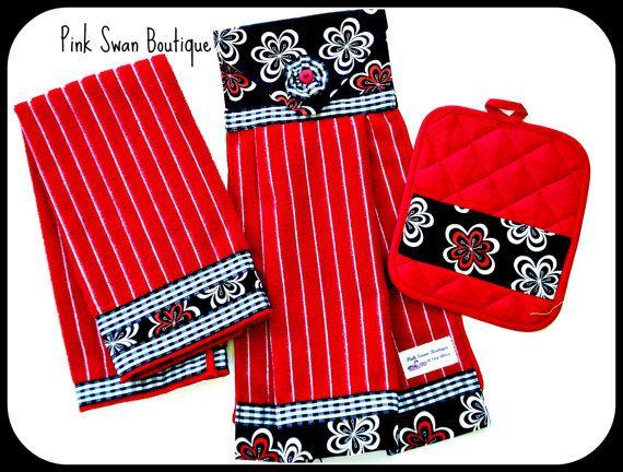 Red Black Kitchen Hanging Towel Dish Towel Potholder Boutique