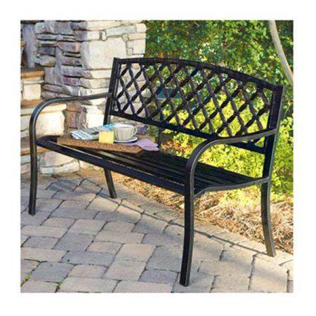 Imperial Power Co Ltd Latt Back Stl Bench Walmart Com Metal Outdoor Bench Steel Bench Outdoor Bench