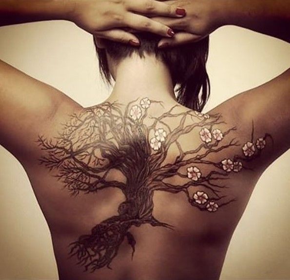 45 Insanely Gorgeous Tree Tattoos on Back | Roots, Bird and Tattoo