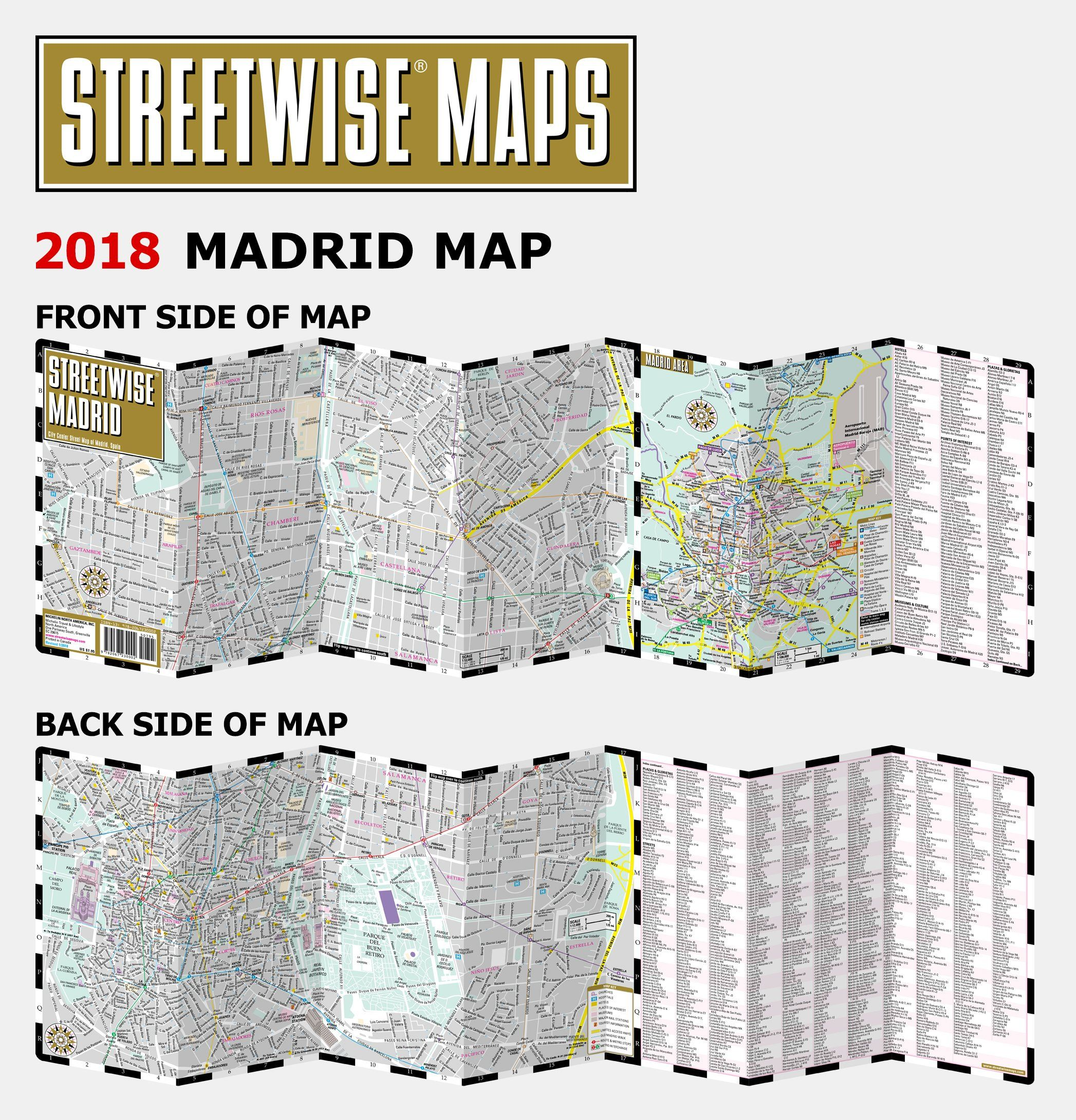 Streetwise Chicago Map.Streetwise Madrid Map Laminated City Center Street Map Of Madrid