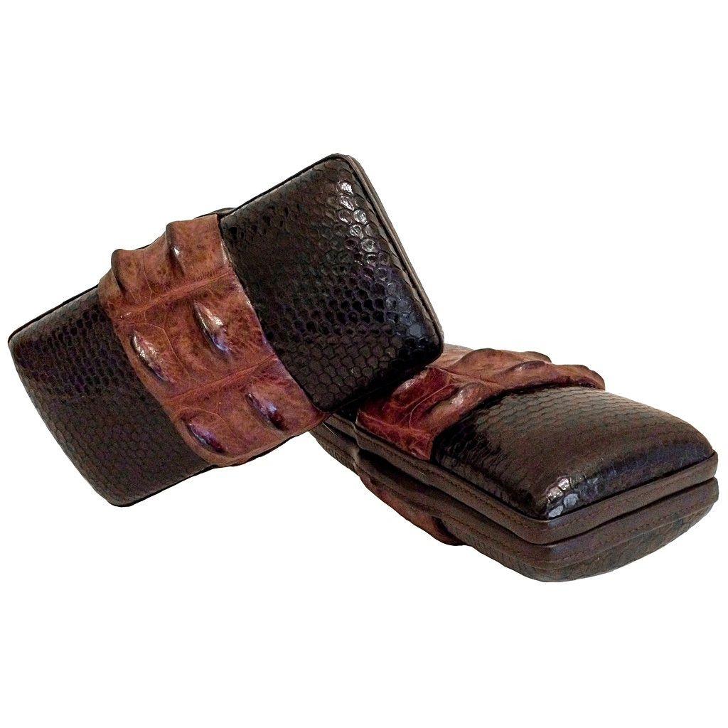 "AR ""Keira"" Croco Clutch | KIMLUD.COM | Tan brown genuine crocodile leather on black snakeskin hand clutch"