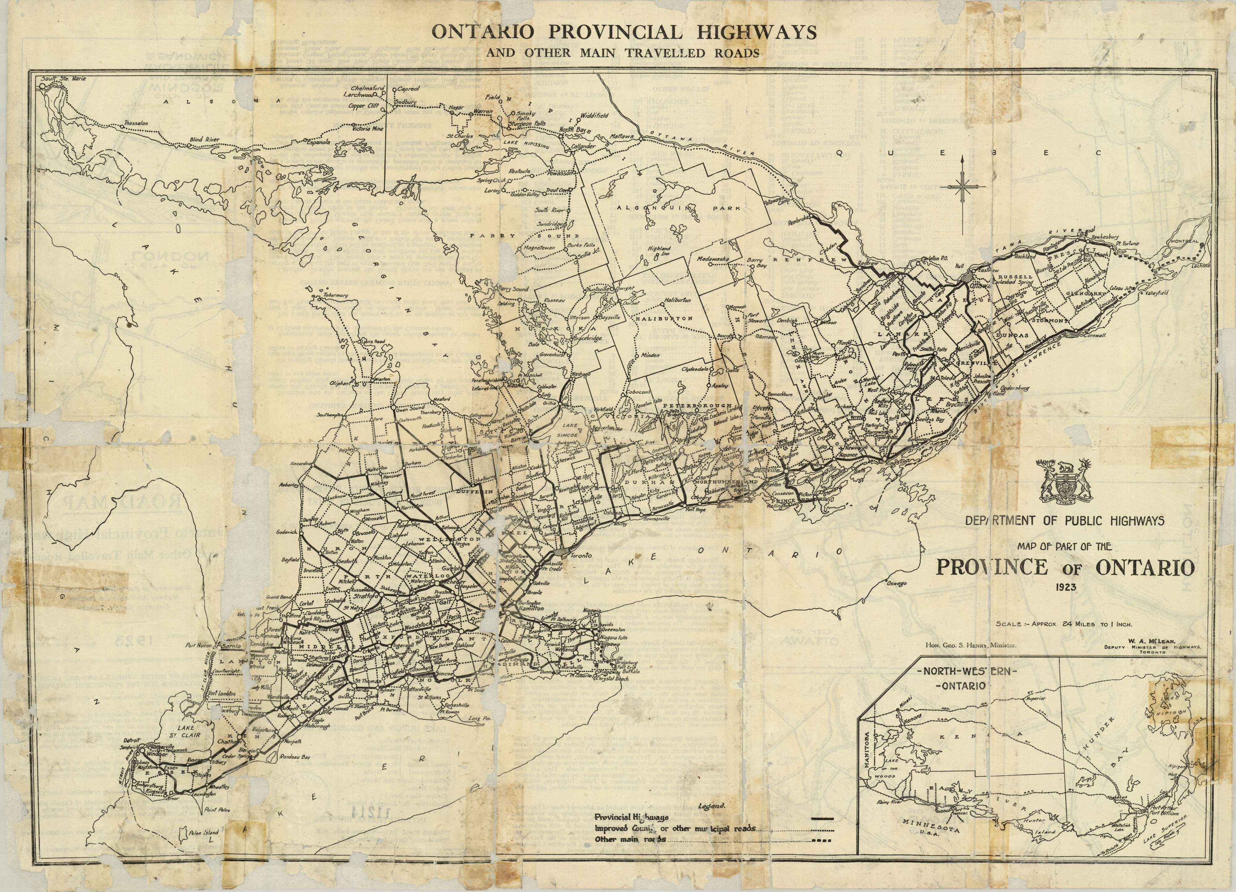 First official Road Map of Ontario, 1923. Ontario Provincial ...