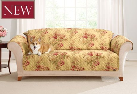 Ballad bouquet by waverly one piece loveseat slipcover - Pet friendly living room furniture ...