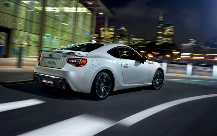 Download Wallpapers Subaru BRZ 2017 Sports Coupe White Japanese Cars