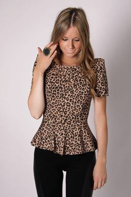 a82065253 Esther Boutique Leopard Peplum on eBay! | Animal Print | Blusas ...