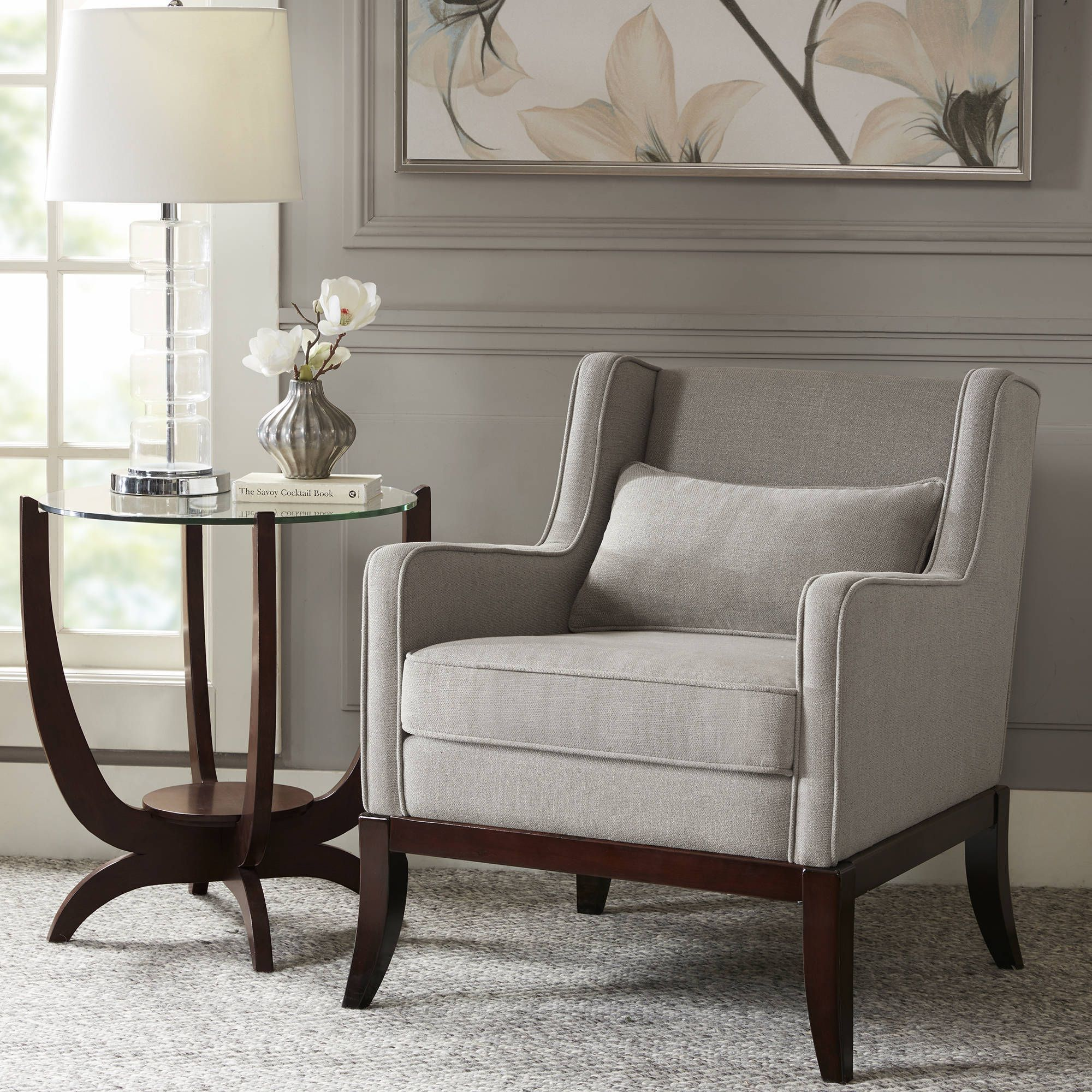 Madison Park Signature Sherman Taupe Dark Brown Accent Chair 29 W