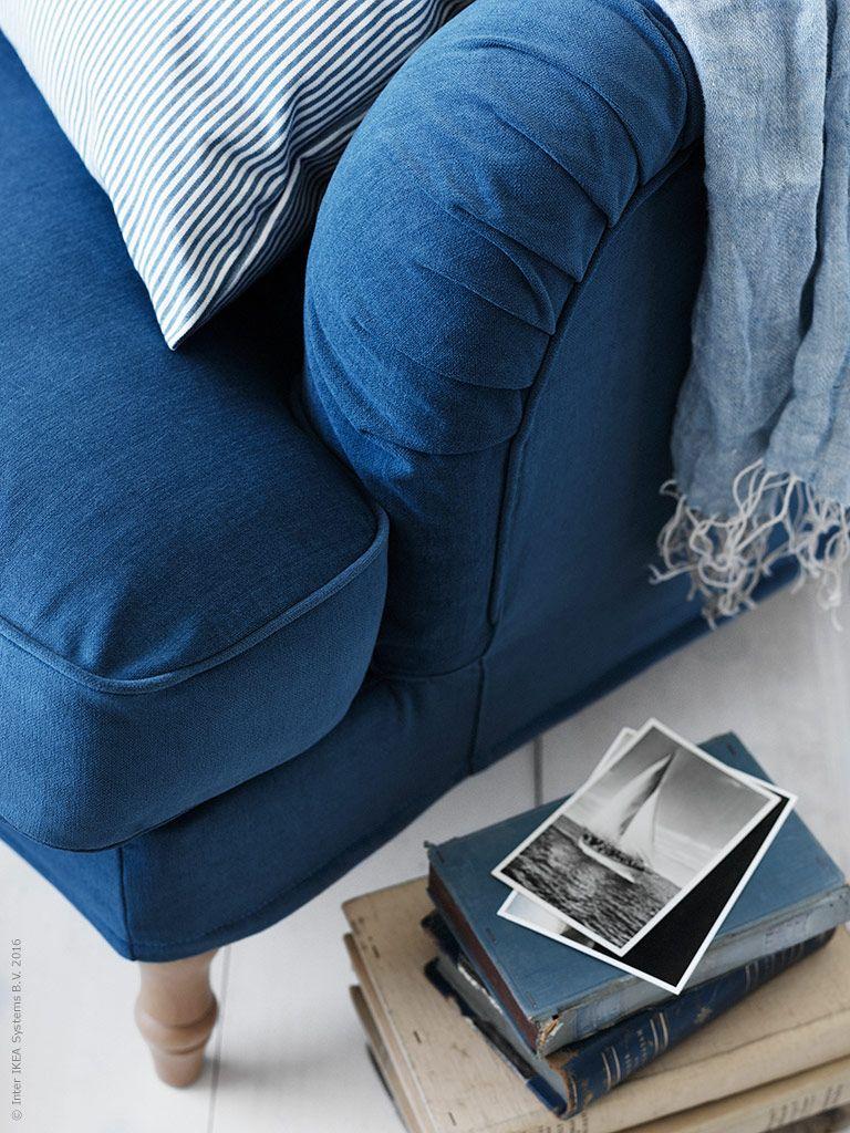 STOCKSUND fåtölj med avtagbar klädsel Ljungen blå och ben i ljust trä, REMVALLEN kuddfodral.