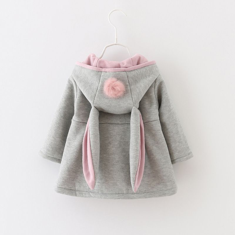 Baby Girls Kids Toddler Fur Hooded Coat Winter Rabbit Bunny Ear Jacket Outerwear