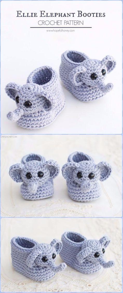 Crochet Elephant Baby Bootie Free Pattern - Crochet Elephant Free ...
