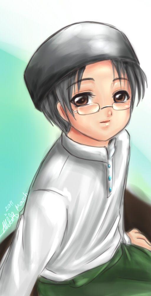 Anime Muslim Boy Wearing Glasses