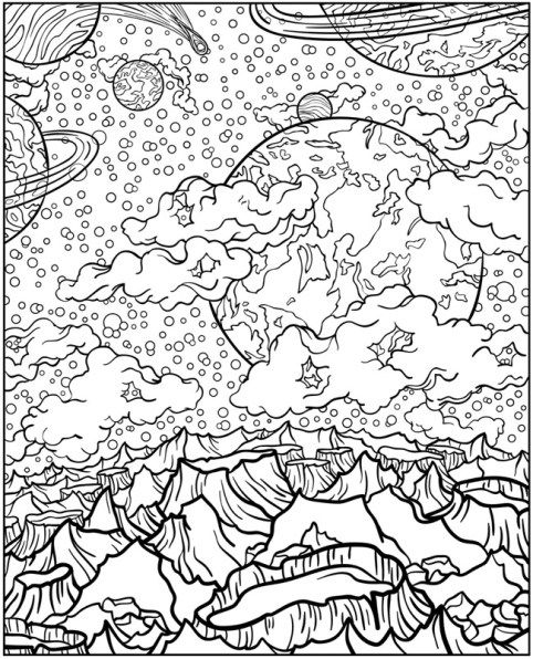Adult Coloring Pages Mars Space Dover Printable