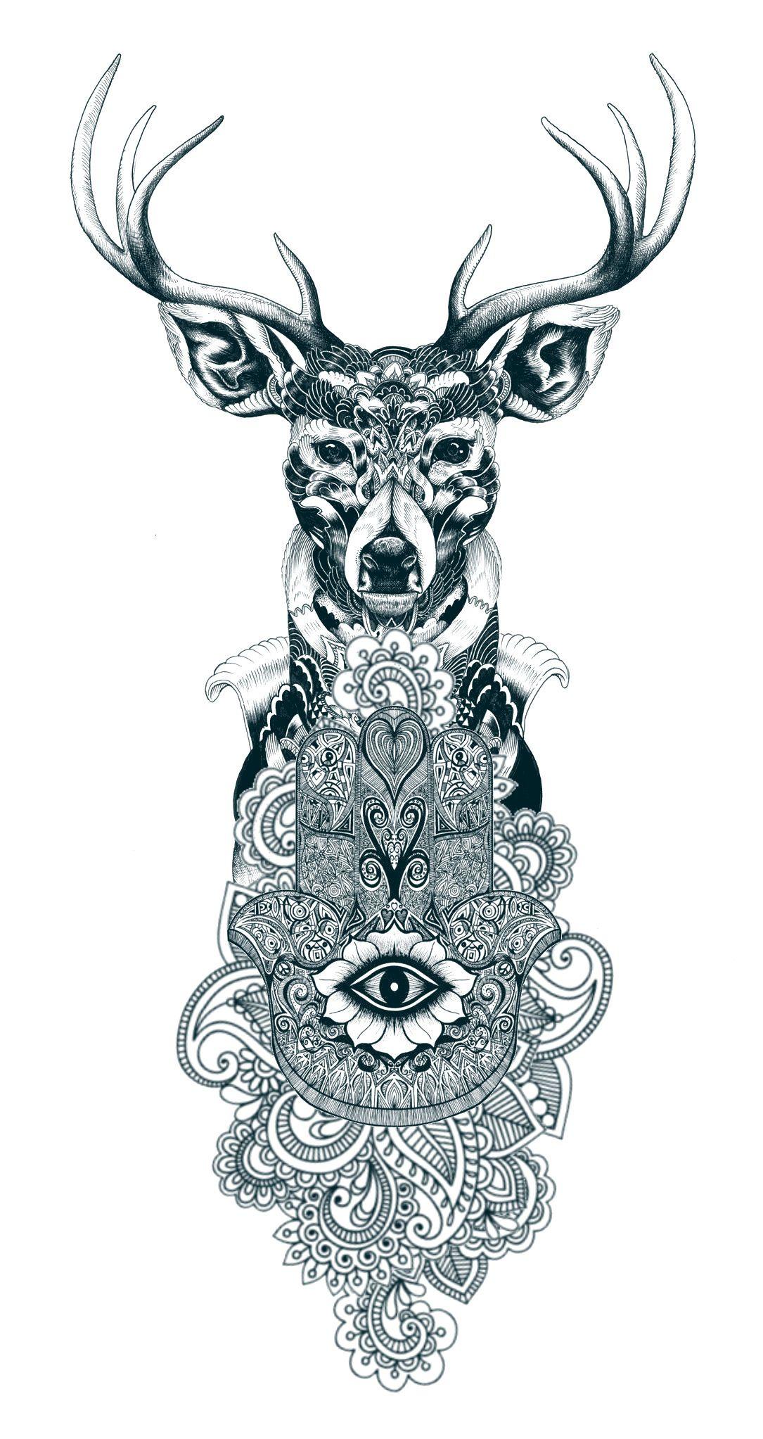 Desenho Cervo/Mandala                                                                                                                                                     Mais