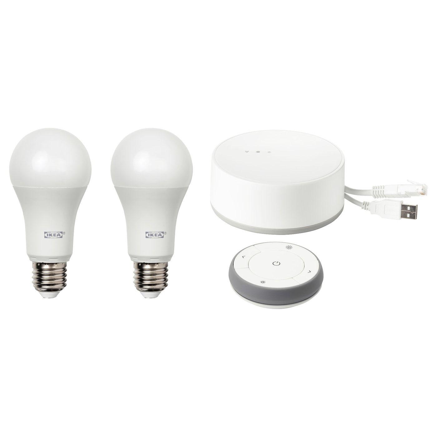 Tradfri Saet Med Gateway Hvidt Spektrum E27 Ikea In 2020 Led Lampe Led Gluhlampen Led Leuchtmittel