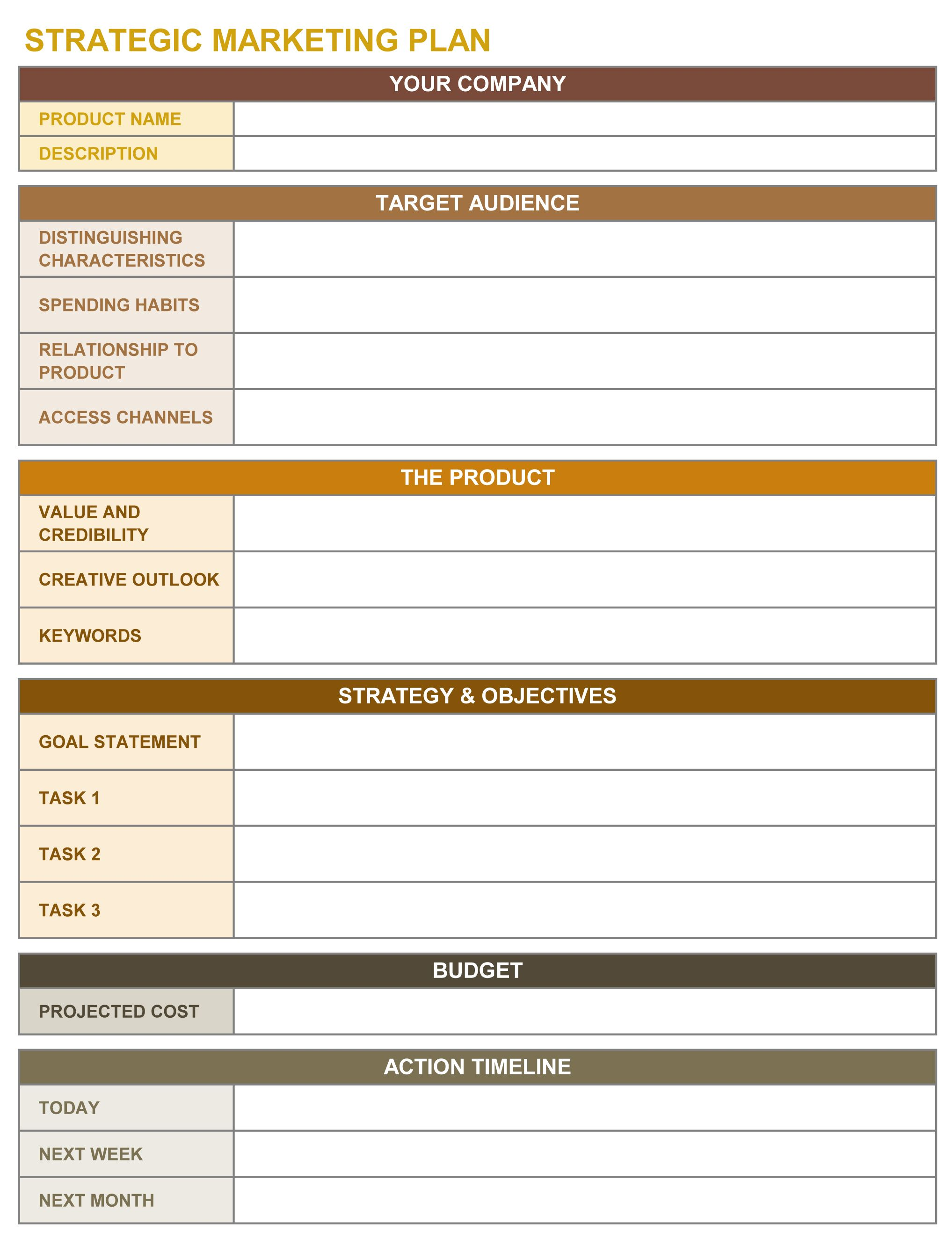 Strategic Marketing Plan Excel Template Strategic Marketing Plan Strategic Planning Template Event Marketing Plan