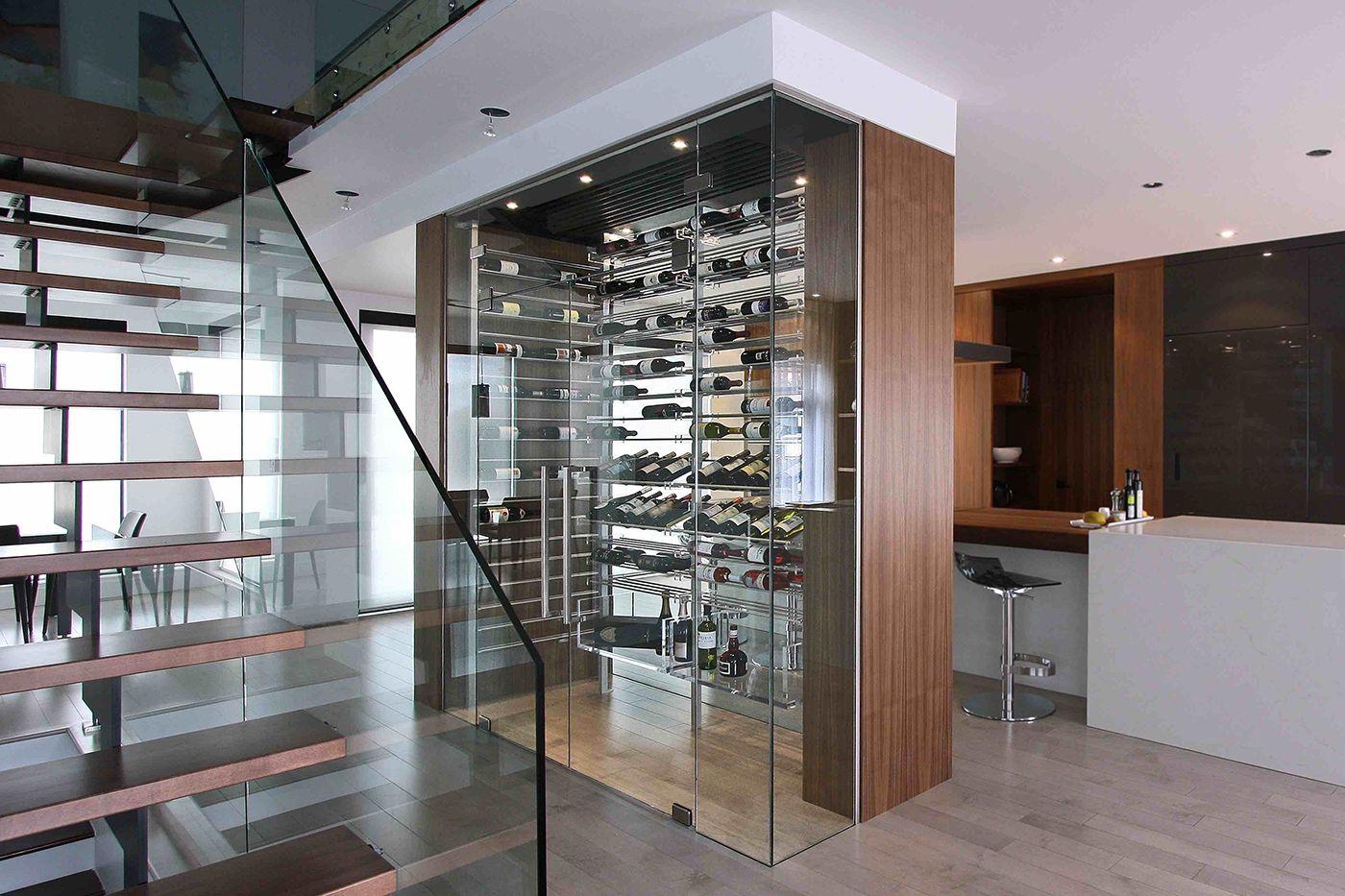 Modern Wine Cellar With Aluminum Acrylic Stained Walnut