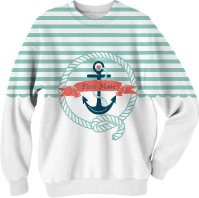 Nautical Aqua Sweatshirt in aqua and white - First Mate