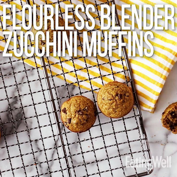 Flourless Blender Zucchini Muffins  - Healthy Baking Recipes -