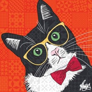 Rascal Tuxedo Cat Card