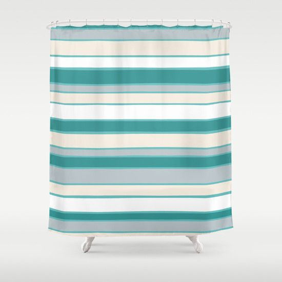 Aqua Teal Grey Cream Shower Curtain