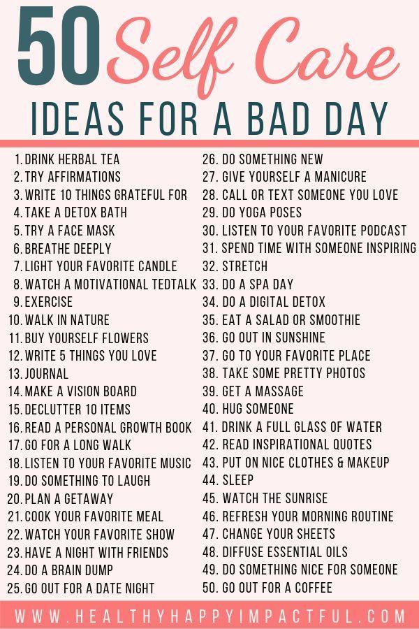 50 Self Care Ideen (mit kostenlosem Ausdruck) für einen schlechten Tag! Kümmere dich um deine geistigen …   – Self-care Tips