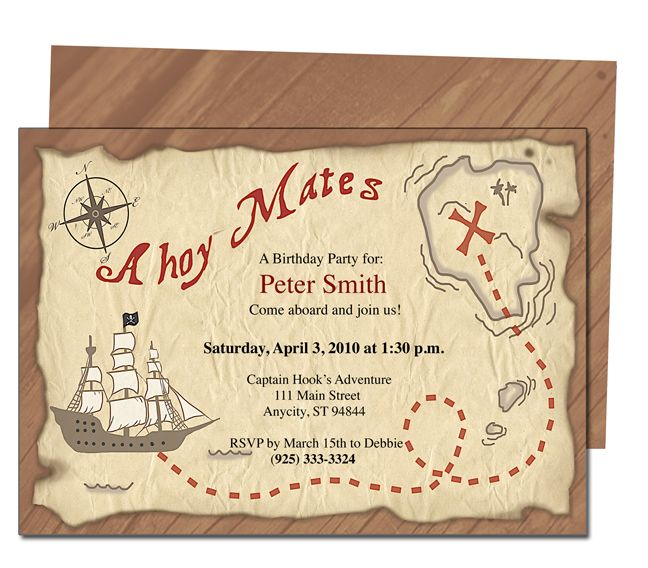 Kids Party  Pirate Kids Birthday Party Invitation Template  Kids