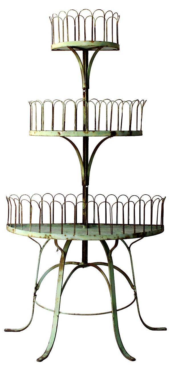 French 3 Tier Garden Stand Vintage Patio Furniture Metal Plant Stand Vintage Patio